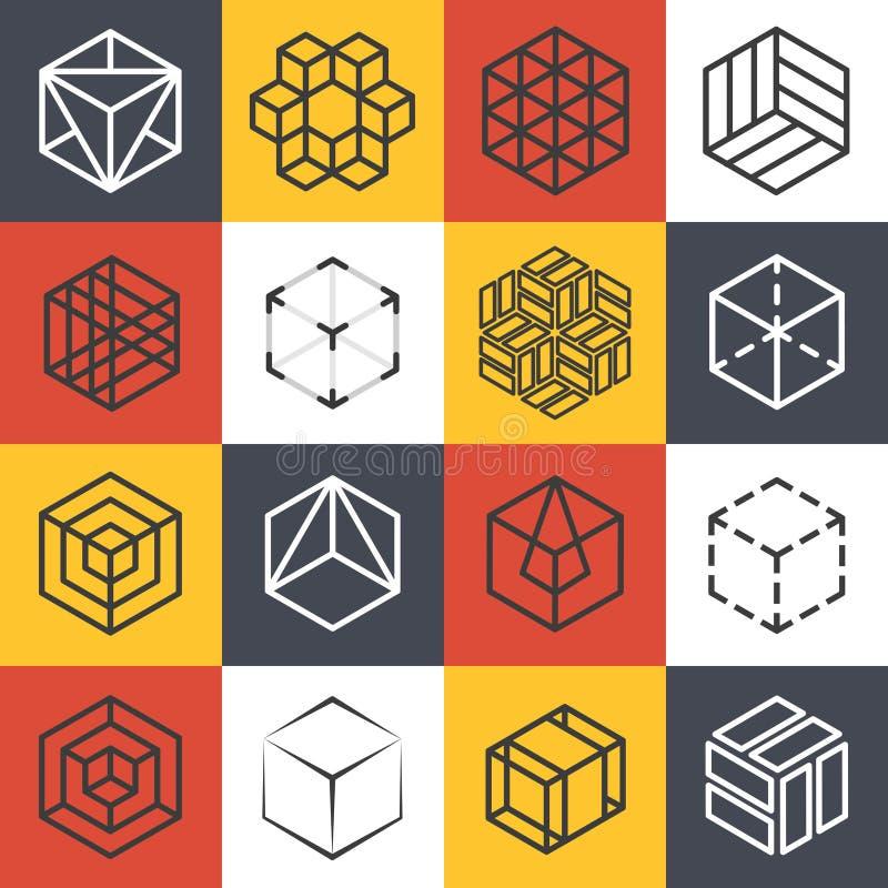 Αρχιτεκτονική και εσωτερικά στούντιο ή κατασκευαστικά πρότυπα λογότυπων γραμμών με τους τρισδιάστατους isometric κύβους διανυσματική απεικόνιση