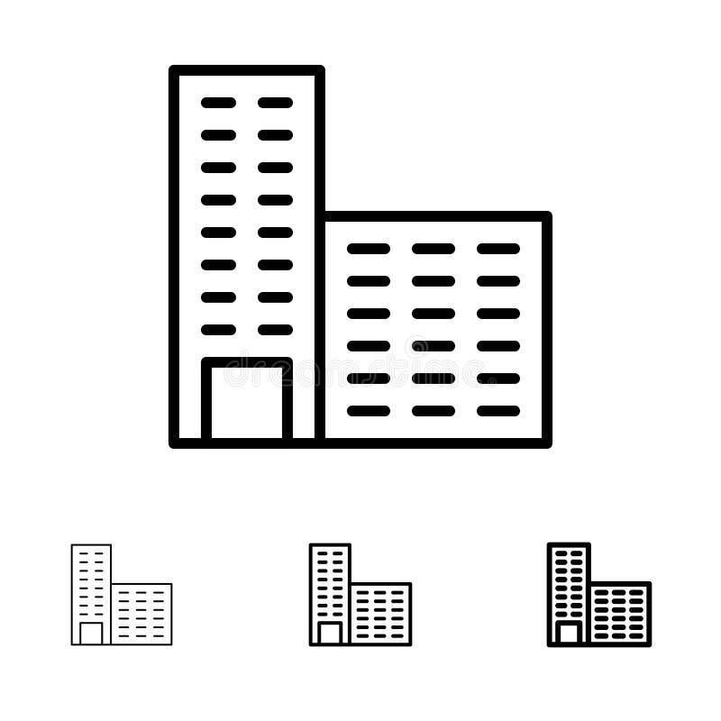 Αρχιτεκτονική, κτήριο, τολμηρό και λεπτό μαύρο σύνολο εικονιδίων γραμμών οικοδόμησης ελεύθερη απεικόνιση δικαιώματος