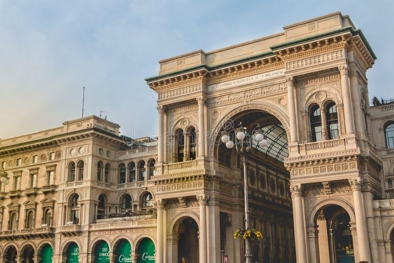 Αρχιτεκτονική λεπτομέρεια του Galleria Vittorio Emanuele ΙΙ στοκ εικόνες