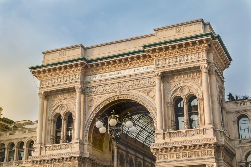 Αρχιτεκτονική λεπτομέρεια του Galleria Vittorio Emanuele ΙΙ στοκ φωτογραφία
