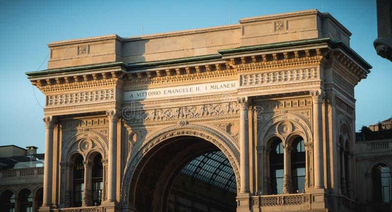 Αρχιτεκτονική λεπτομέρεια του Galleria Vittorio Emanuele ΙΙ στοκ φωτογραφία με δικαίωμα ελεύθερης χρήσης