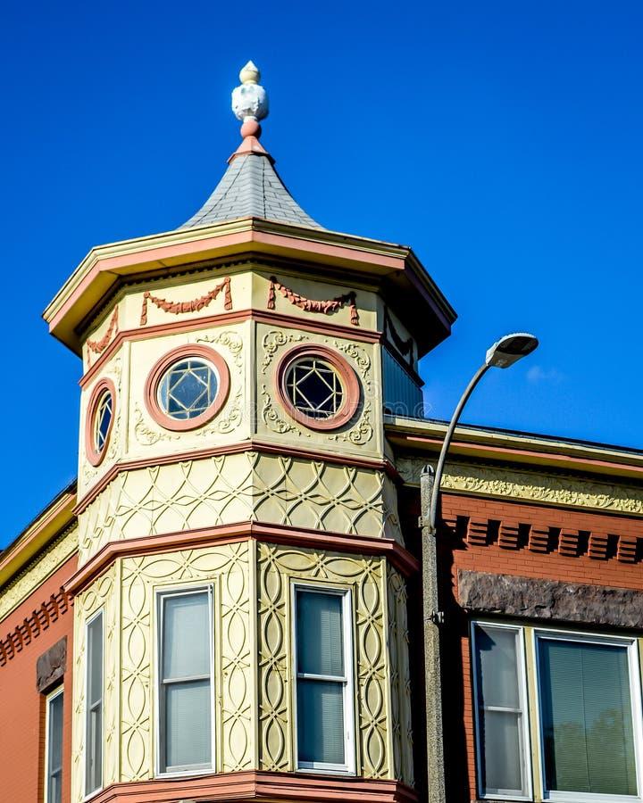 Αρχιτεκτονική οκταγώνων στο στο κέντρο της πόλης Μπέρλινγκτον, Ουισκόνσιν στοκ φωτογραφίες με δικαίωμα ελεύθερης χρήσης
