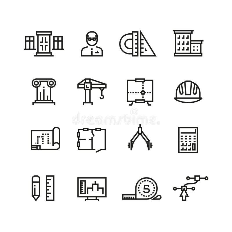 Αρχιτεκτονική, προγραμματισμός οικοδόμησης, διανυσματικά εικονίδια γραμμών κατασκευής σπιτιών καθορισμένα διανυσματική απεικόνιση