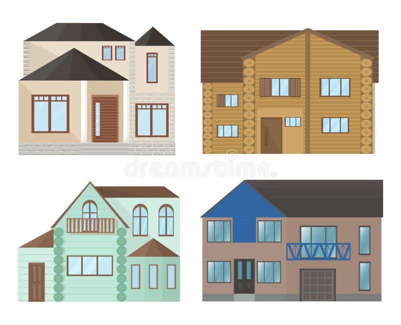 Αρχιτεκτονική προσόψεων σπιτιών κτηρίων Σύγχρονες επίπεδες διανυσματικές απεικονίσεις ύφους ελεύθερη απεικόνιση δικαιώματος