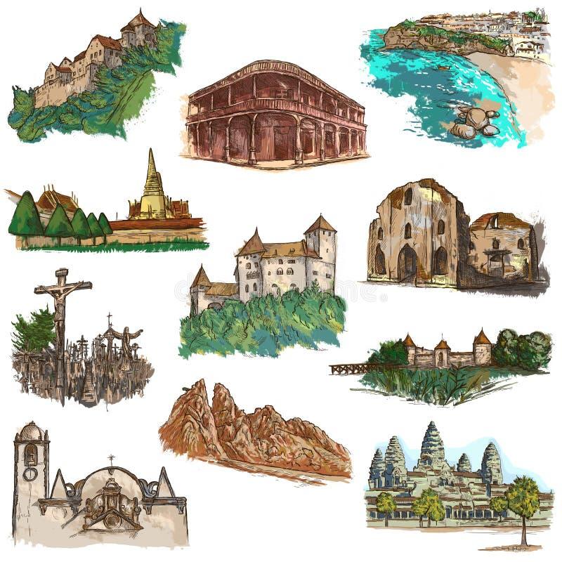 Αρχιτεκτονική σε όλο τον κόσμο - ένα συρμένο χέρι πακέτο ελεύθερη απεικόνιση δικαιώματος