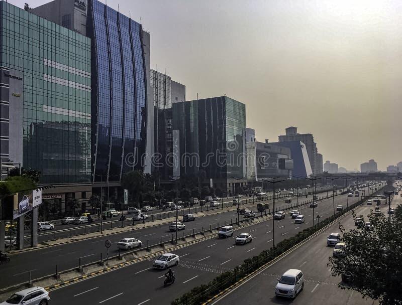Αρχιτεκτονική της πόλης ή Cyberhub Cyber σε Gurgaon, Νέο Δελχί, Ινδία στοκ εικόνα