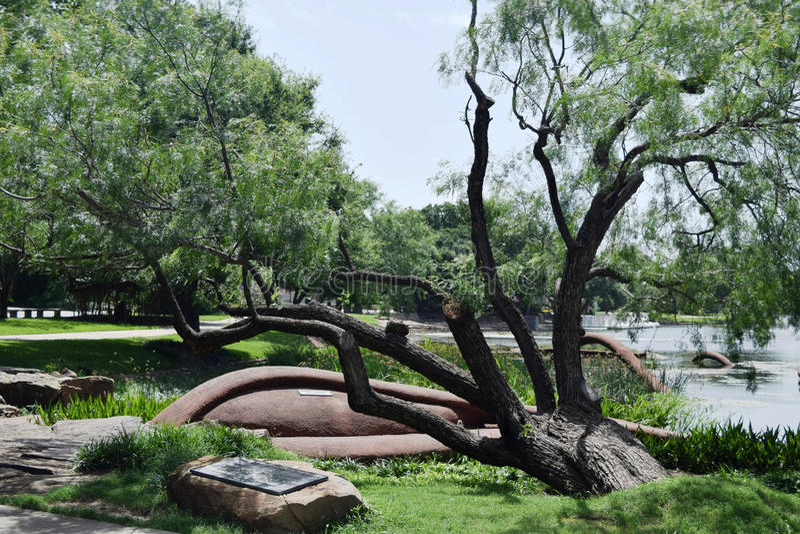 Αρχιτεκτονική τοπίων στο δίκαιο πάρκο στοκ εικόνα