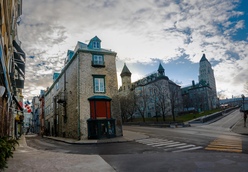 Αρχιτεκτονική του παλαιών Κεμπέκ - της πόλης του Κεμπέκ, Καναδάς στοκ εικόνα με δικαίωμα ελεύθερης χρήσης