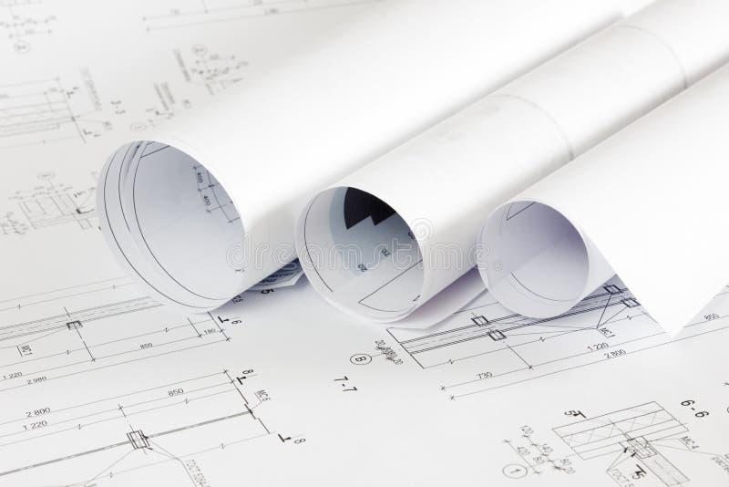 Αρχιτεκτονικοί σχεδιαγράμματα και ρόλοι σχεδιαγραμμάτων στοκ εικόνες με δικαίωμα ελεύθερης χρήσης