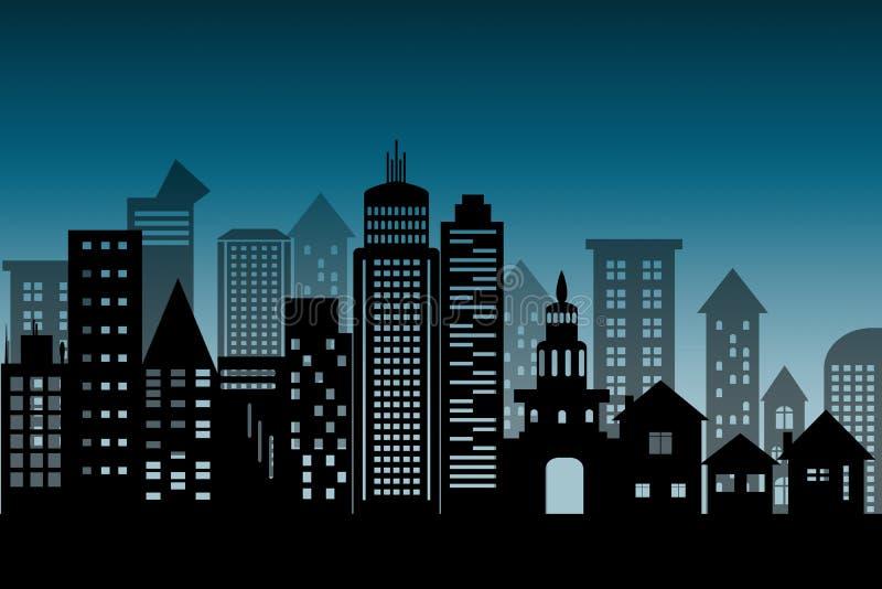 Αρχιτεκτονικό εικονίδιο ουρανοξυστών οικοδόμησης εικονικής παράστασης πόλης σκιαγραφιών μαύρο επίπεδο ύφος σχεδίου στο μπλε βαθύ  διανυσματική απεικόνιση