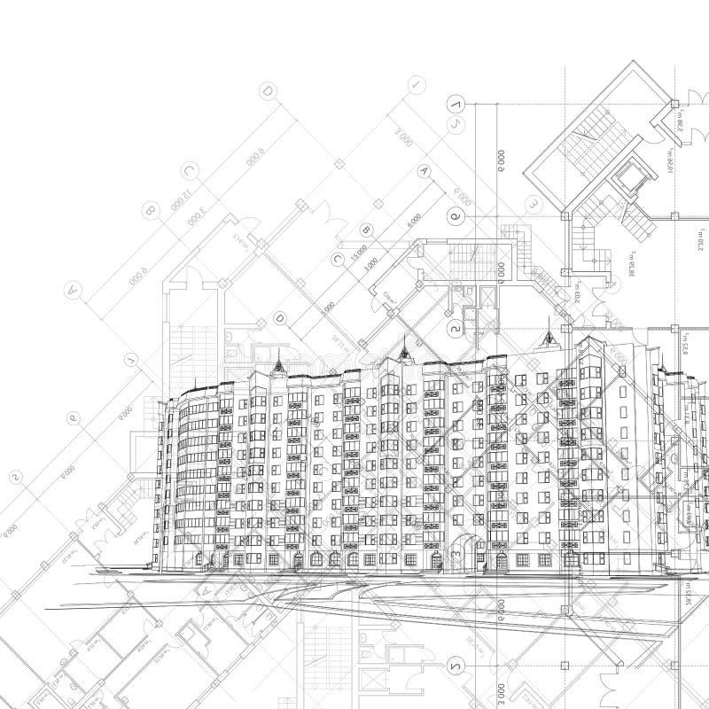 αρχιτεκτονικό μαύρο διαν&u διανυσματική απεικόνιση