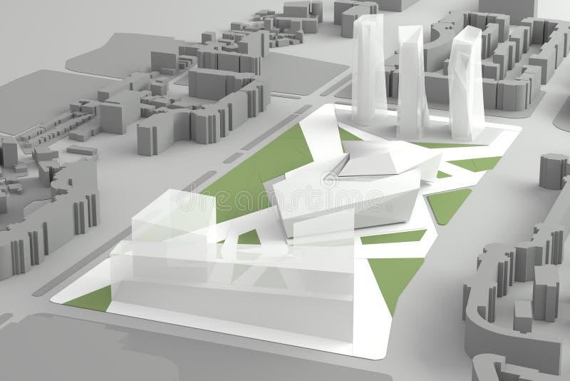 Αρχιτεκτονικό πρότυπο του στο κέντρο της πόλης οικονομικού κέντρου πόλεων απεικόνιση αποθεμάτων