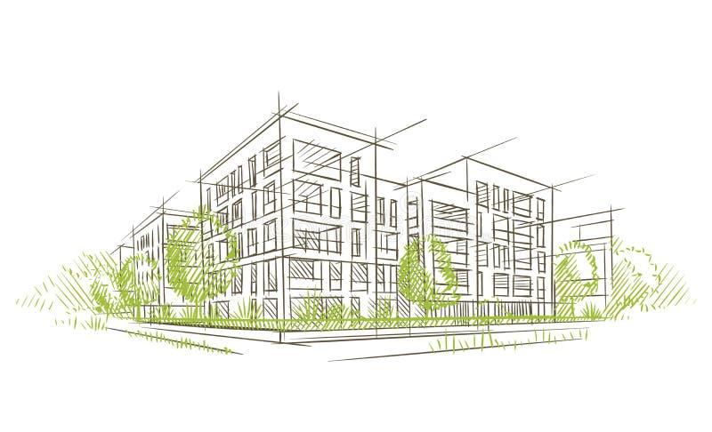 Αρχιτεκτονικό σκίτσο Ecocity διάνυσμα layered διανυσματική απεικόνιση