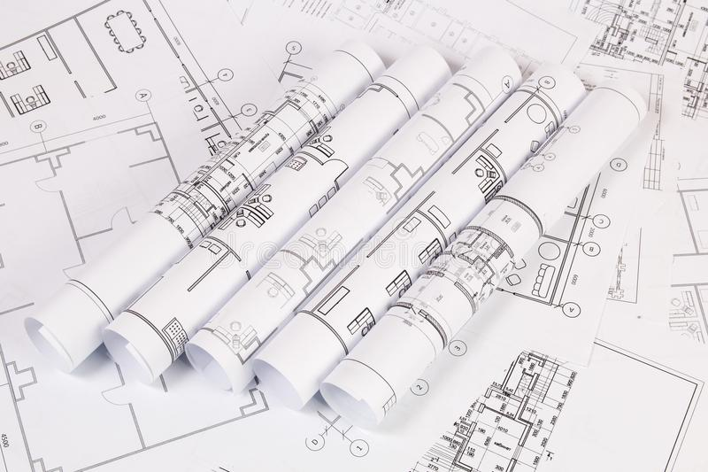 Αρχιτεκτονικό σχέδιο Σχέδια και σχεδιαγράμματα σπιτιών εφαρμοσμένης μηχανικής στοκ φωτογραφίες
