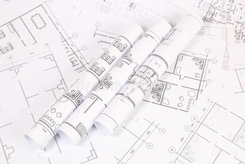 Αρχιτεκτονικό σχέδιο Σχέδια και σχεδιαγράμματα σπιτιών εφαρμοσμένης μηχανικής στοκ εικόνα με δικαίωμα ελεύθερης χρήσης