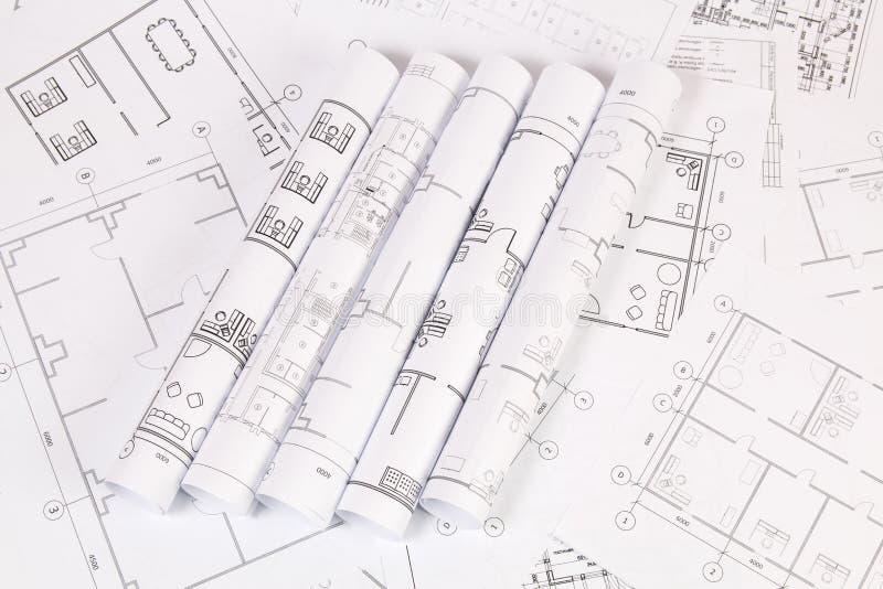 Αρχιτεκτονικό σχέδιο Σχέδια και σχεδιαγράμματα σπιτιών εφαρμοσμένης μηχανικής στοκ εικόνα