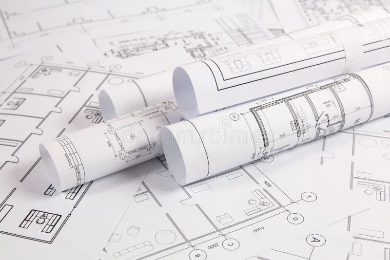 Αρχιτεκτονικό σχέδιο Σχέδια και σχεδιαγράμματα σπιτιών εφαρμοσμένης μηχανικής στοκ φωτογραφίες με δικαίωμα ελεύθερης χρήσης