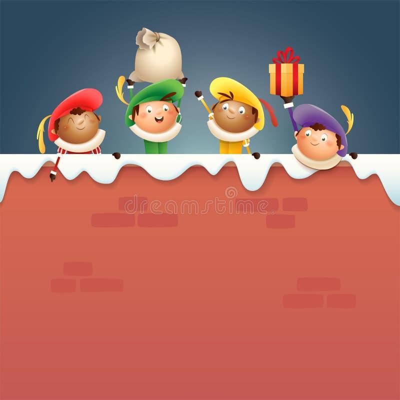 Αρωγοί Zwarte Piet Sintrklaas εν πλω - οι ευτυχείς χαριτωμένοι χαρακτήρες γιορτάζουν τις ολλανδικές διακοπές στο χιονώδη τοίχο -  ελεύθερη απεικόνιση δικαιώματος