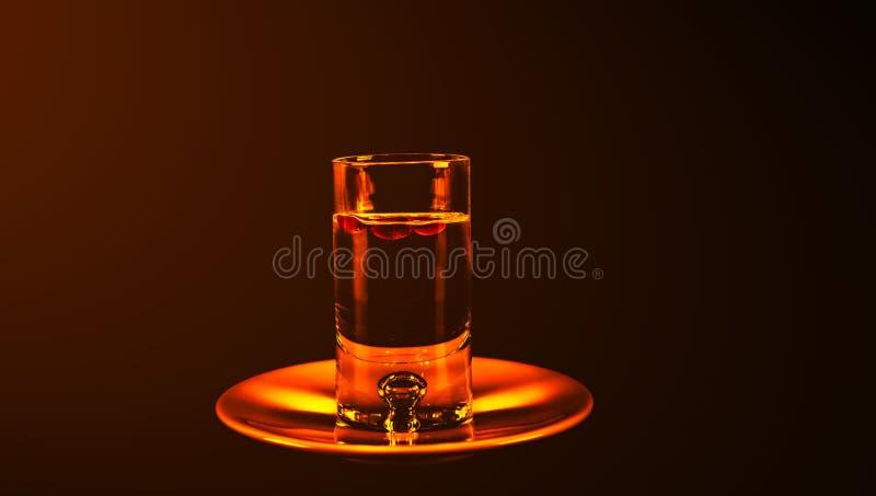 Αρωματικό οινόπνευμα γλυκάνισου με τα φασόλια καφέ σε ένα γυαλί, σύνολο ποτών στοκ εικόνα
