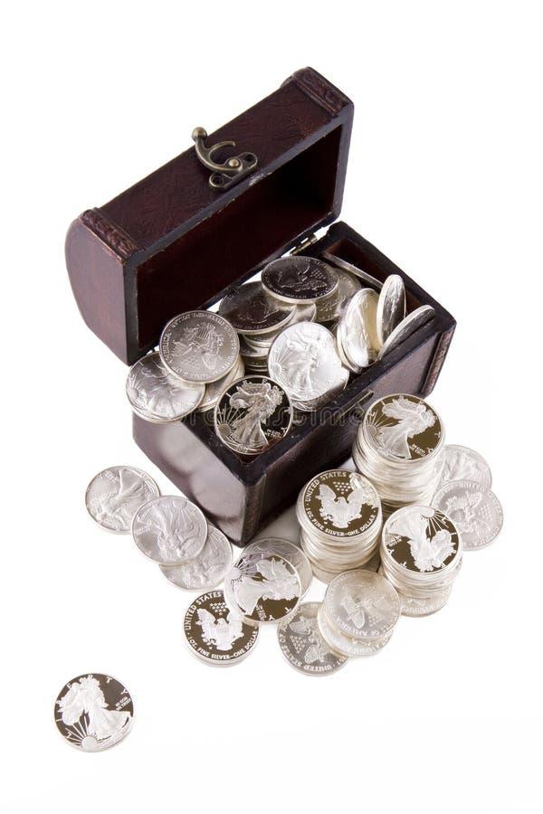 ασήμι δολαρίων νομισμάτων στοκ εικόνες με δικαίωμα ελεύθερης χρήσης