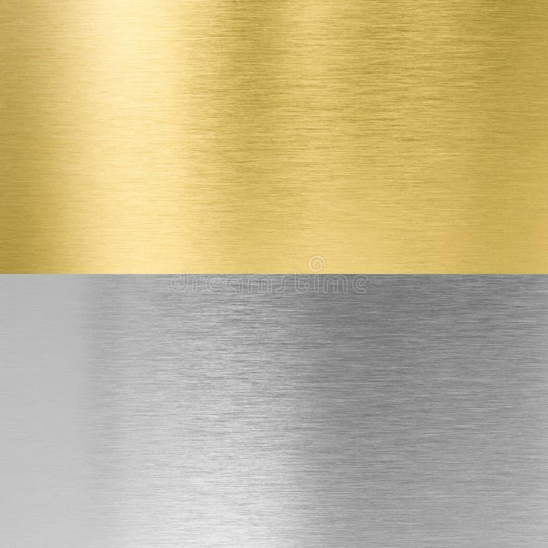 Ασήμι και ραμμένες χρυσός συστάσεις μετάλλων στοκ φωτογραφία