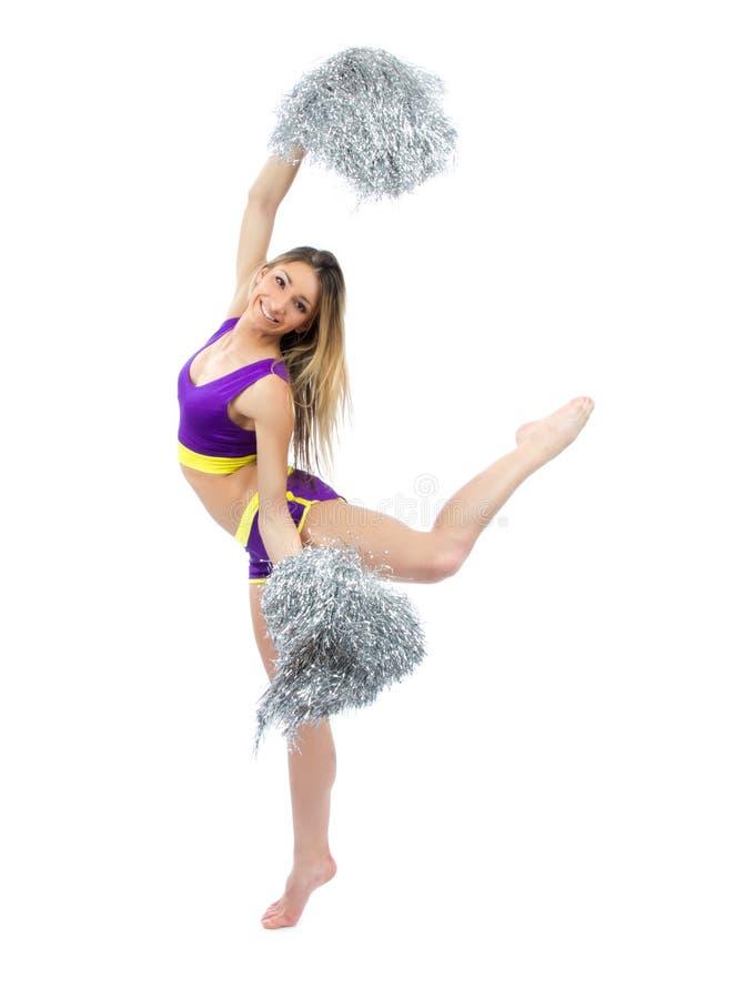 ασήμι κοριτσιών χορευτών μαζορετών pom poms στοκ εικόνες
