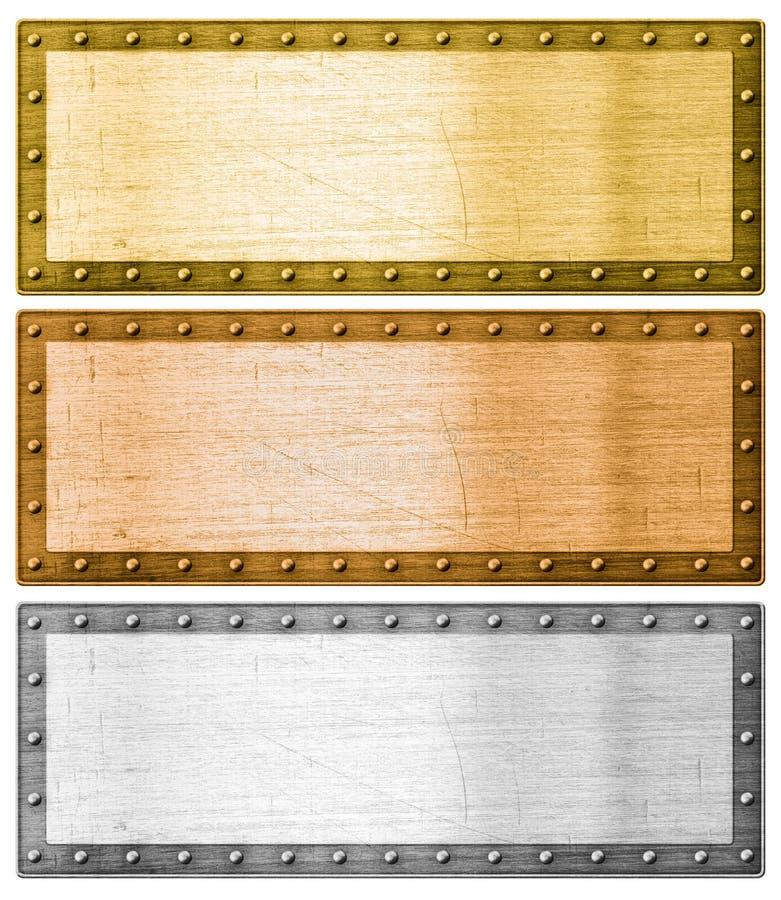Ασήμι, χρυσός και χαλκός πλαισίων μετάλλων με το ψαλίδισμα της πορείας στοκ φωτογραφία