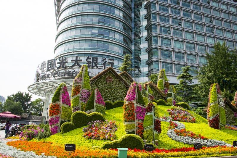 Ασία Κίνα, Πεκίνο, λεωφόρος Chang'an, τρισδιάστατα κρεβάτια λουλουδιών στοκ εικόνες με δικαίωμα ελεύθερης χρήσης