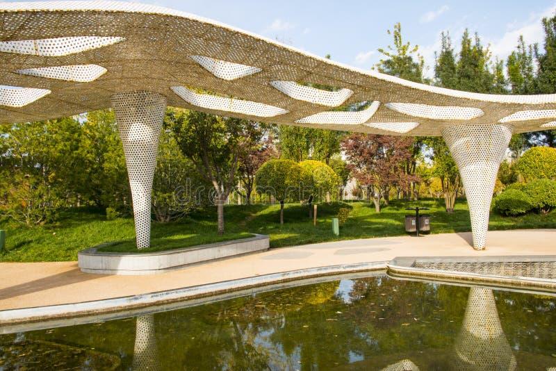 Ασία Κίνα, Πεκίνο, κήπος EXPO πάρκων, περίπτερα στοκ εικόνα με δικαίωμα ελεύθερης χρήσης