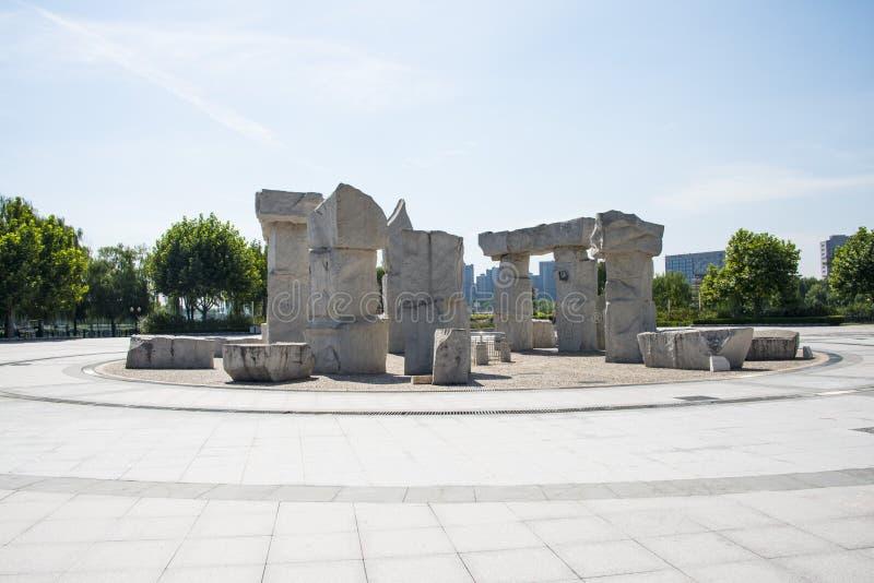 Ασία Κίνα, Πεκίνο, πάρκο Jianhe, τετραγωνικός, stonesculptural στοκ φωτογραφίες με δικαίωμα ελεύθερης χρήσης