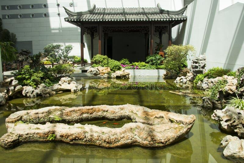 Ασία κινέζικα, μουσείο κήπων του Πεκίνου, Κίνα, εσωτερική αίθουσα έκθεσης στοκ φωτογραφία με δικαίωμα ελεύθερης χρήσης