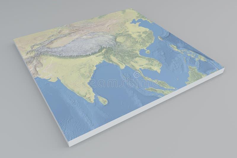 Ασία, δορυφορική άποψη, διασπασμένος, τρισδιάστατη, χάρτης διανυσματική απεικόνιση
