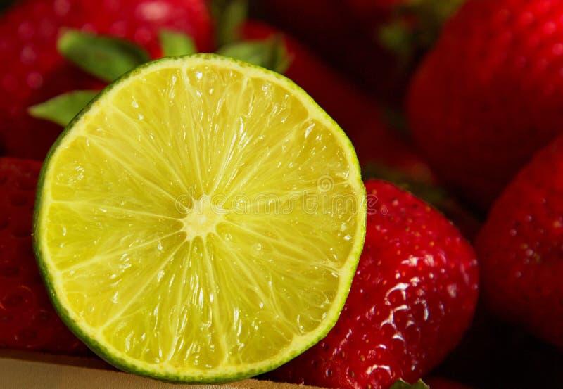 Ασβέστης που περιβάλλεται μισός από τις φράουλες στοκ εικόνες