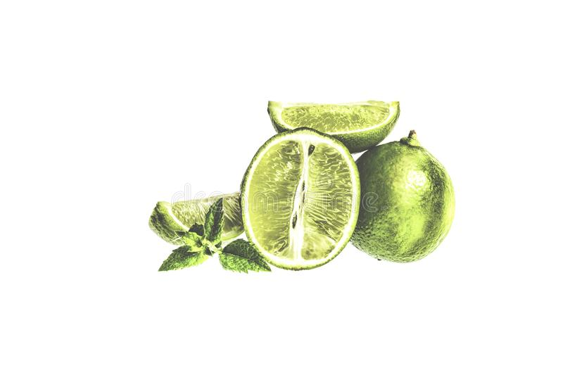 ασβέστης Φέτες και μέντα φρούτων που απομονώνονται σε ένα άσπρο υπόβαθρο στοκ εικόνα