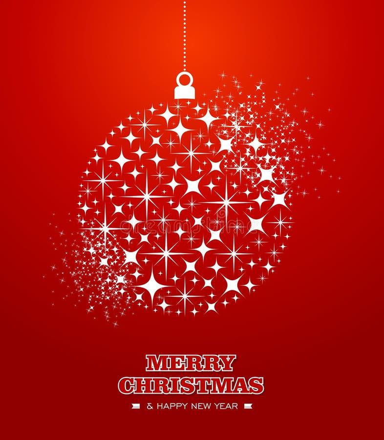 Ασβέστιο μπιχλιμπιδιών Χαρούμενα Χριστούγεννας και αστεριών καλής χρονιάς απεικόνιση αποθεμάτων