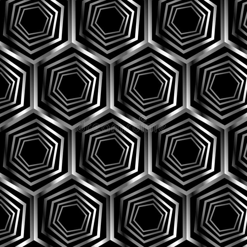 Ασημένια εξαγωνική οπτική παραίσθηση απεικόνιση αποθεμάτων