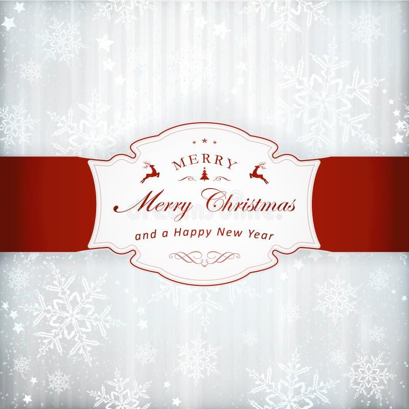 Ασημένια κάρτα πρόσκλησης Χριστουγέννων με την ετικέτα ελεύθερη απεικόνιση δικαιώματος