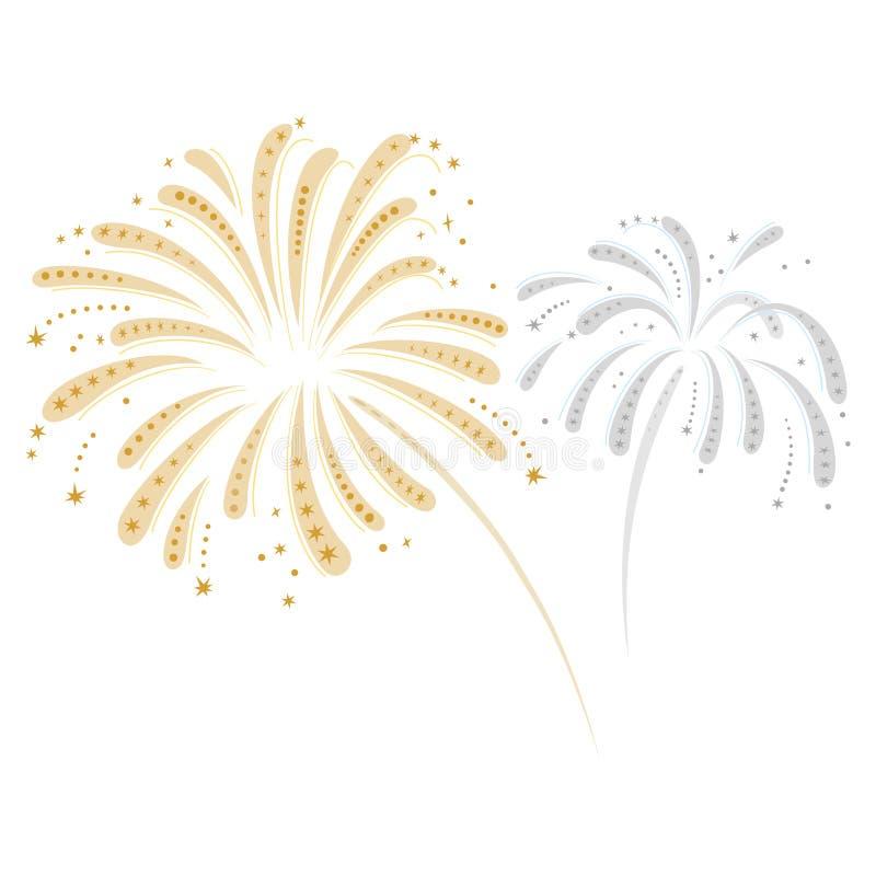 Ασημένια και χρυσά πυροτεχνήματα ελεύθερη απεικόνιση δικαιώματος