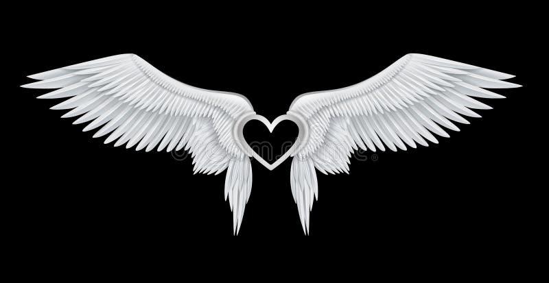 Ασημένια καρδιά στα άσπρα ρεαλιστικά φτερά αγγέλου ελεύθερη απεικόνιση δικαιώματος