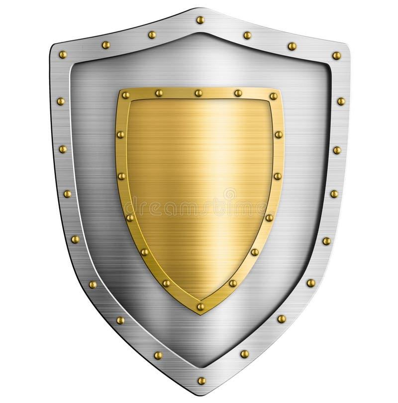 Ασημένια κλασσική ασπίδα μετάλλων με τη χρυσή τρισδιάστατη απεικόνιση καλύψεων των όπλων απεικόνιση αποθεμάτων