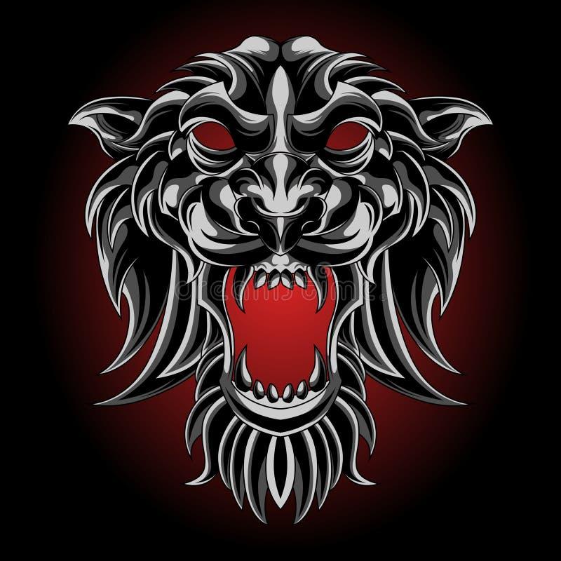 Ασημένια μάσκα τιγρών διανυσματική απεικόνιση