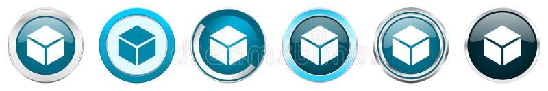 Ασημένια μεταλλικά εικονίδια συνόρων χρωμίου παραθύρων σε 6 επιλογές, σύνολο μπλε στρογγυλών κουμπιών Ιστού που απομονώνεται στο  ελεύθερη απεικόνιση δικαιώματος