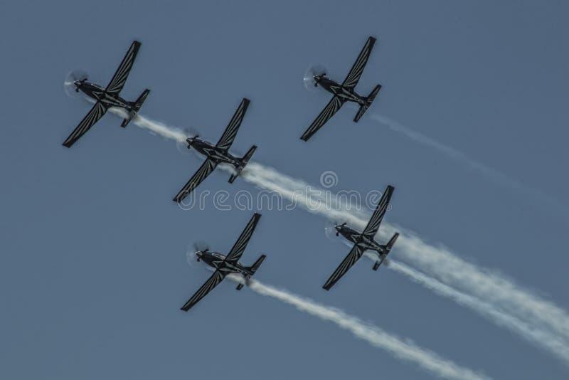 Ασημένια ομάδα 79 γερακιών στο σχηματισμό τεσσάρων σκαφών στοκ φωτογραφία με δικαίωμα ελεύθερης χρήσης