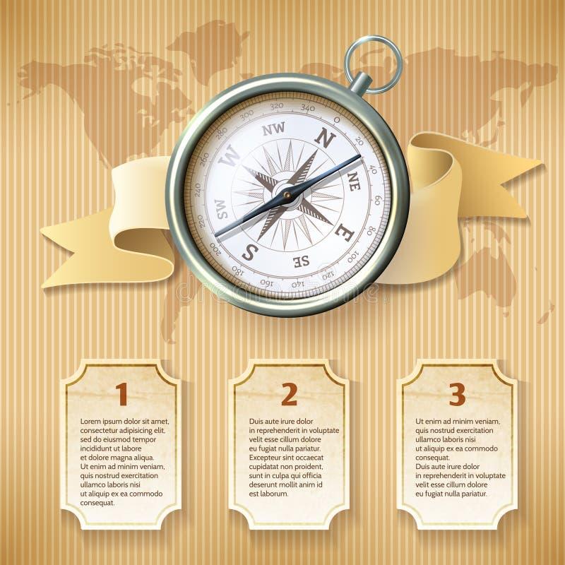 Ασημένια πυξίδα infographic διανυσματική απεικόνιση