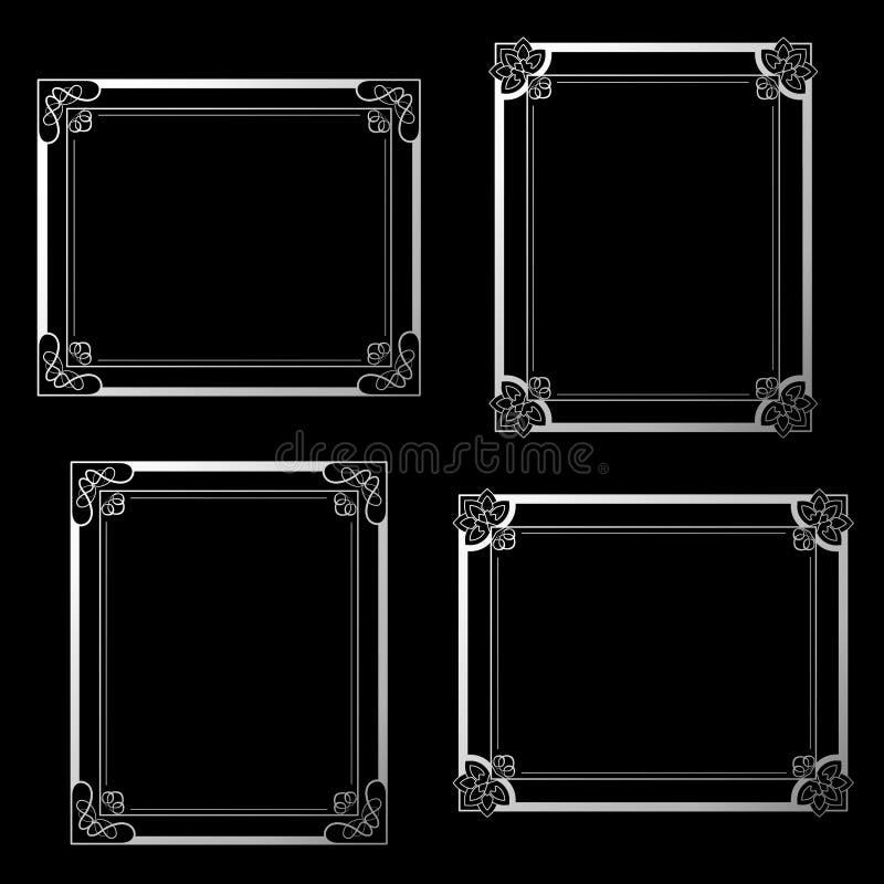 Ασημένια πλαίσια στο μαύρο υπόβαθρο Πλαίσια ορθογωνίων διακοσμήσεων για τη φωτογραφία σας σύνορα διακοσμητικά ελεύθερη απεικόνιση δικαιώματος