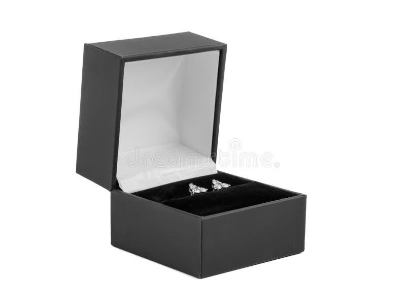 Ασημένια σκουλαρίκια με τους πολύτιμους λίθους σε ένα μικρό κιβώτιο δώρων Απομονωμένος στο λευκό Κινηματογράφηση σε πρώτο πλάνο στοκ εικόνα με δικαίωμα ελεύθερης χρήσης