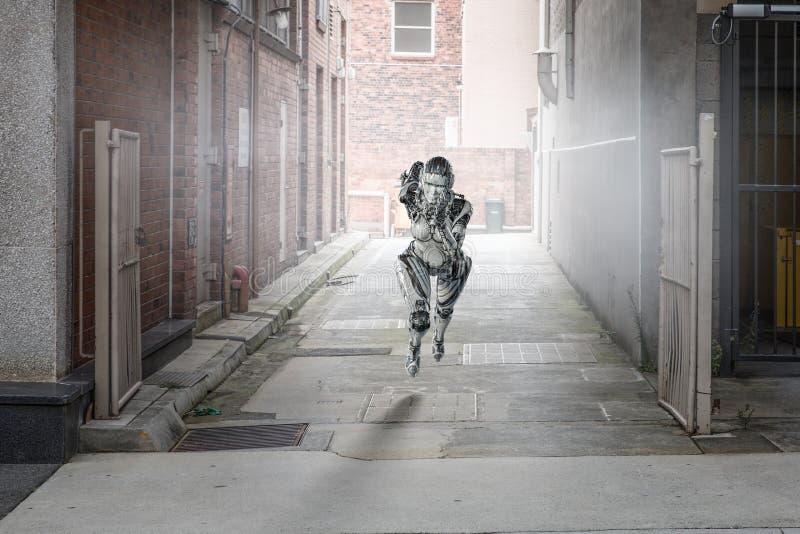 Ασημένια τρέχοντας γυναίκα Cyborg r στοκ φωτογραφίες