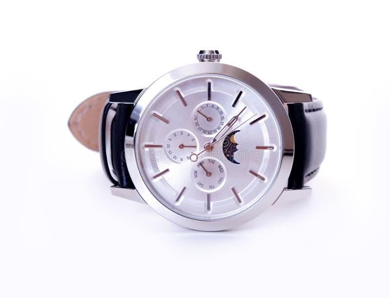 Ασημένια φάση φεγγαριών wristwatch στοκ εικόνες με δικαίωμα ελεύθερης χρήσης
