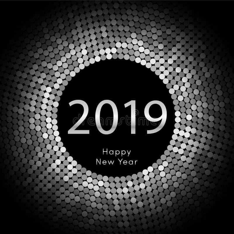 Ασημένια χαιρετώντας αφίσα έτους 2019 discoball νέα Δίσκος κύκλων καλής χρονιάς 2019 με το μόριο Ακτινοβολήστε γκρίζο σχέδιο σημε διανυσματική απεικόνιση