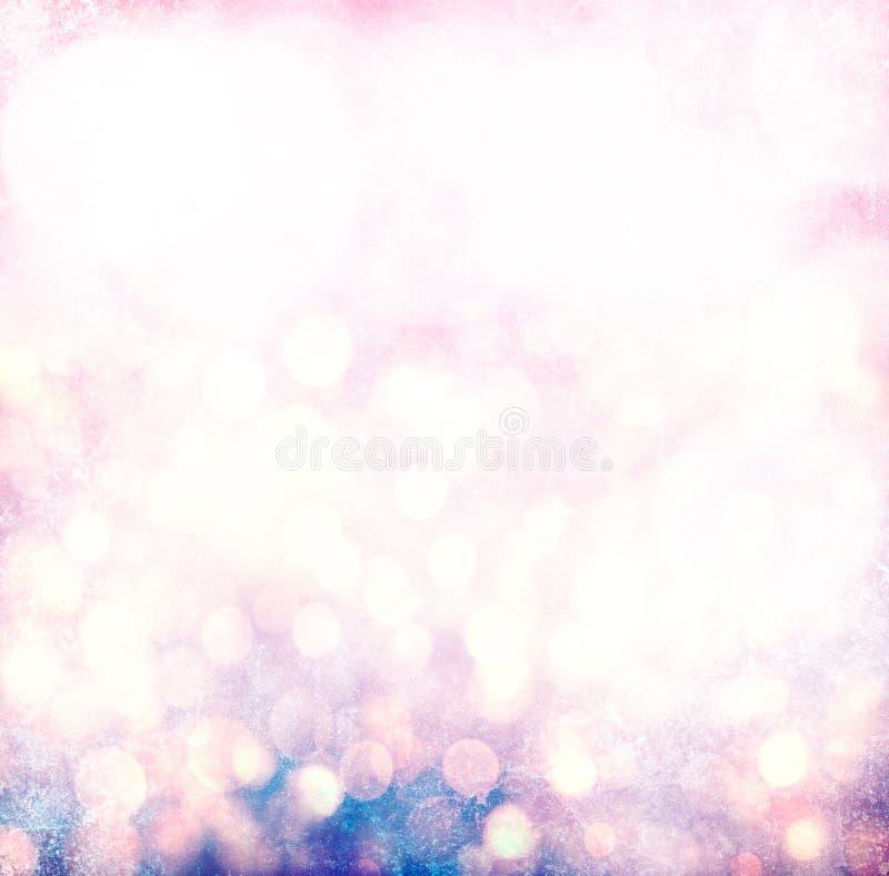 Ασημένια, χρυσά, ρόδινα Χριστούγεννα ελαφρύ Bokeh Grunge στοκ εικόνα